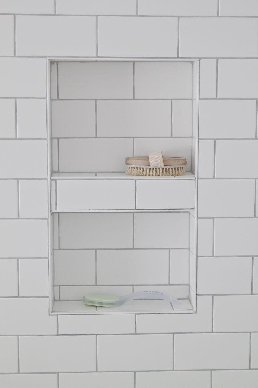 Ravine house reno the master bathroom reveal shower niche white bathroom details shower niche with white subway tile dailygadgetfo Images