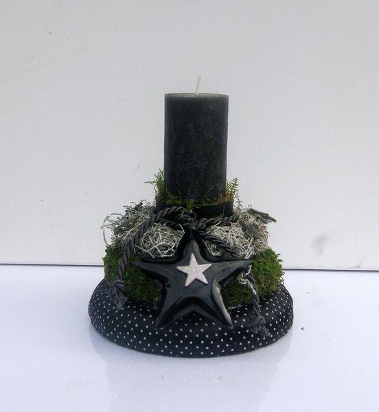 Adventsgesteck t rmchen schwarzer wei von kunstbedarf24 auf weihnachten - Schwarzer weihnachtsbaum ...