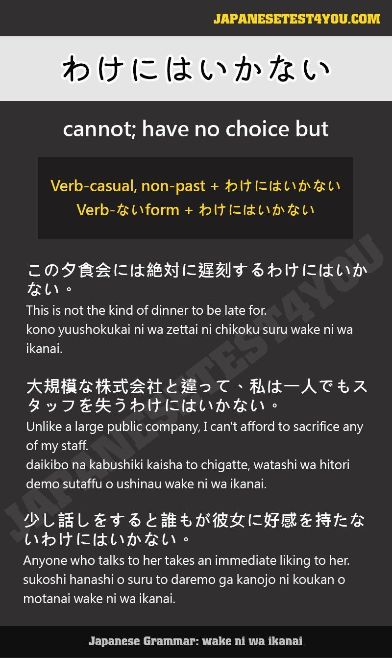 Learn Japanese Grammar わけにはいかない Wake Niwa Ikanai