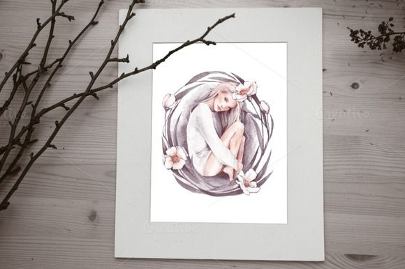 Eve. Watercolor beautiful girl by Watercolor addiction on @creativemarket