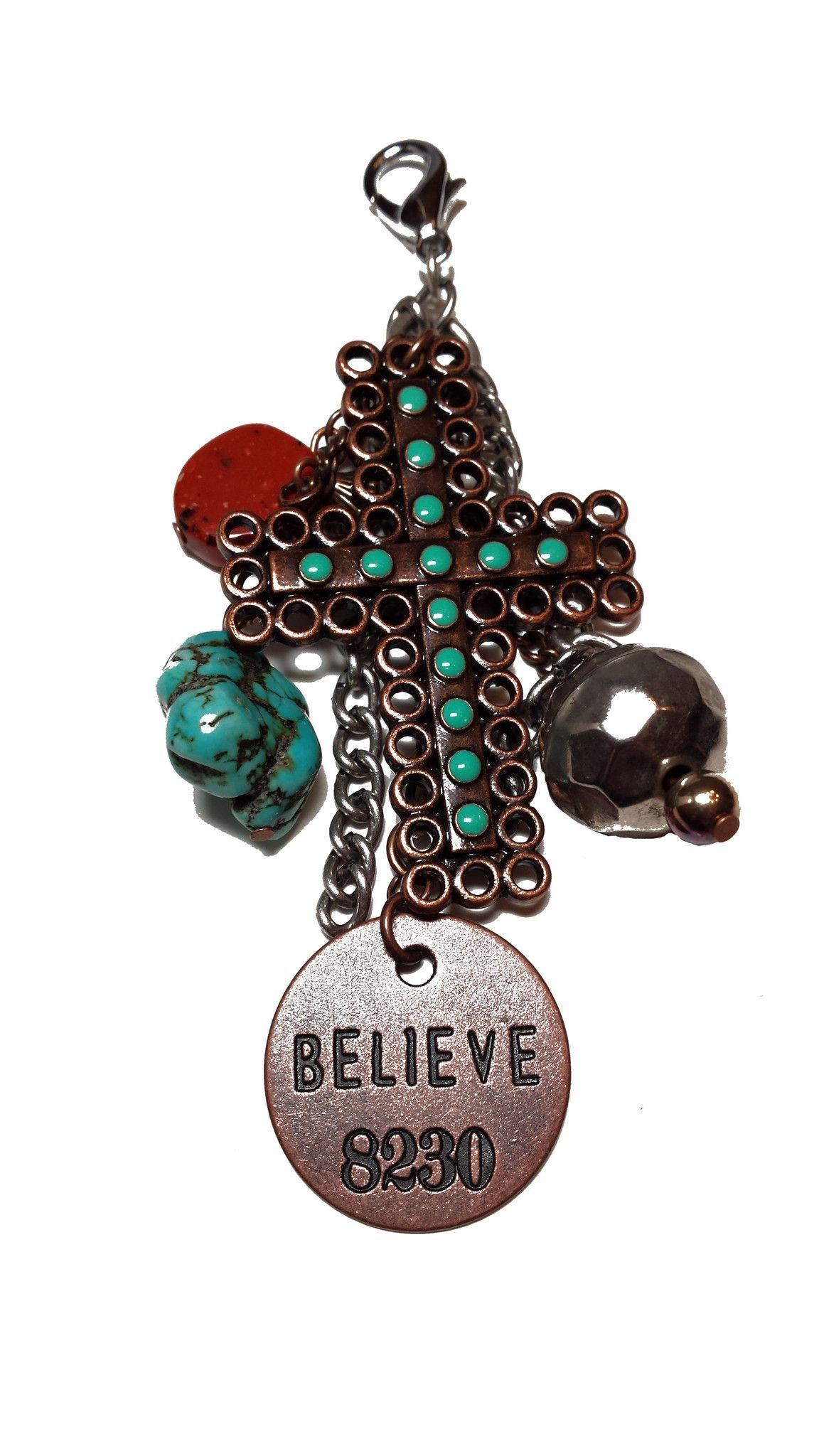 Turquoise Cross Believe 8230 Cluster Pendant
