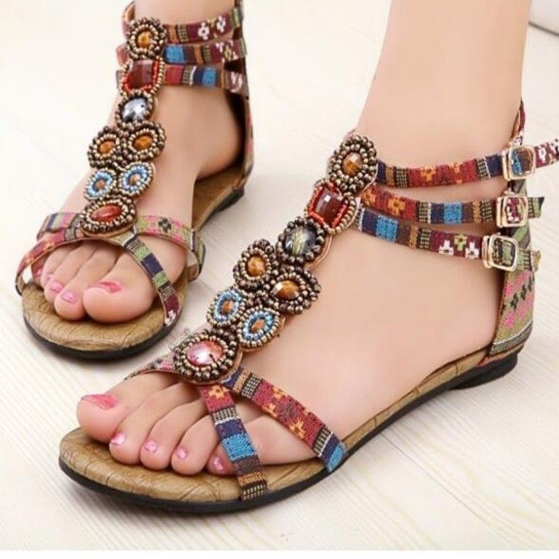 892d1efef24 Click to Buy    Womens BOHO Stylish Beads Decor Printed Flats Sandals Sexy  Ladies Bohemian T Strappy Leisure Shoes Beach Sandals free shuipping   Affiliate
