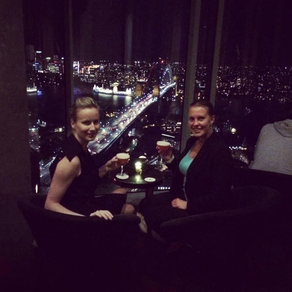 Having drink on the 36th floor looking over Harbour Bridge in Sydney with Boel.