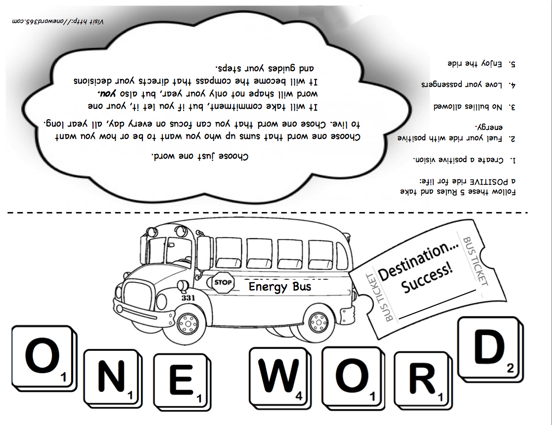 PRINTABLE = The Energy Bus / One Word Project for students | Leader ...