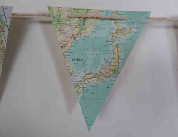 atlas bunting garland flags world map banner for childs room nursery bon voyage gift