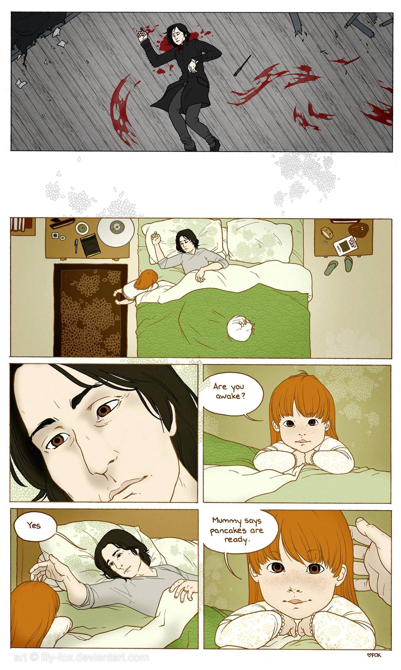 """""""Severus Snape Wakes Up""""   I support Lily/James over Lily/Severus, but I like to think this was Snape's heaven."""