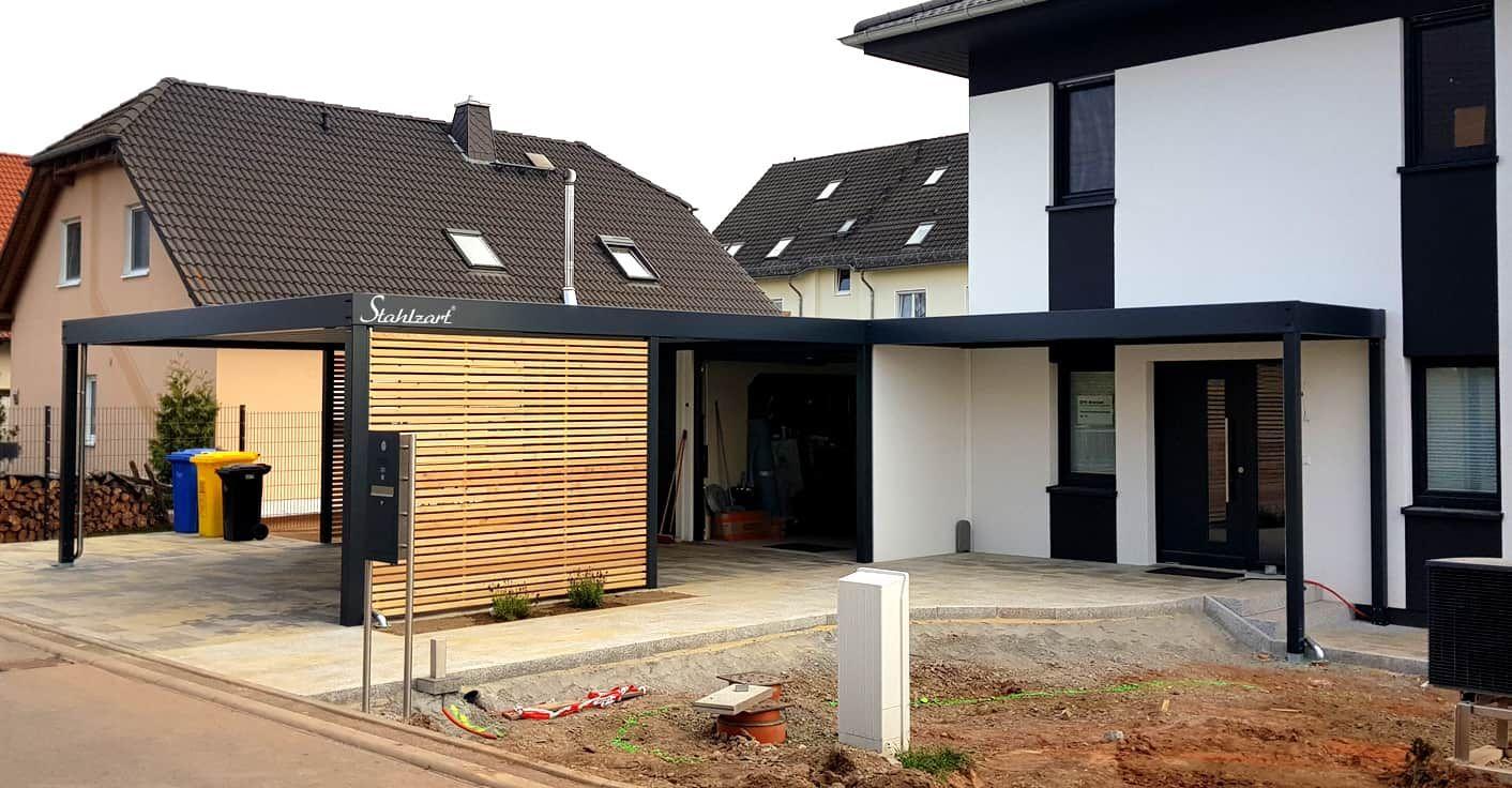 Carport Hauswand Haus Anbau Luxemburg · modern · STAHLZART