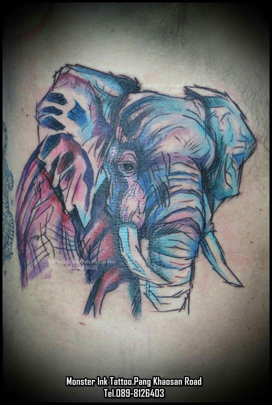 Elephant #Watercolor #Tattoo #Bangkok #Khaosan Rd. #Thailand Monster ...