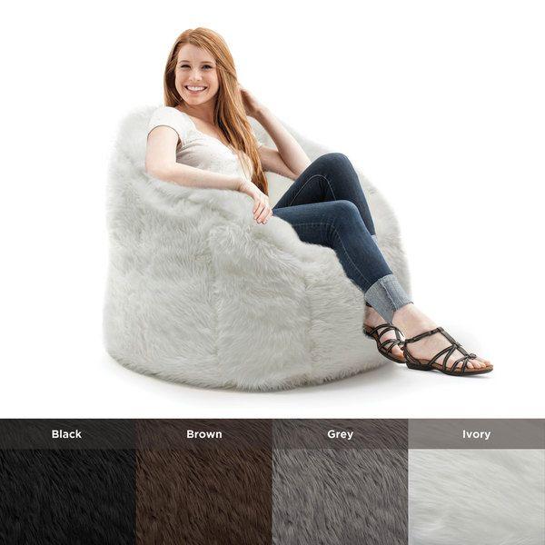 In Brown Beansack Big Joe Milano Faux Fur Bean Bag Chair