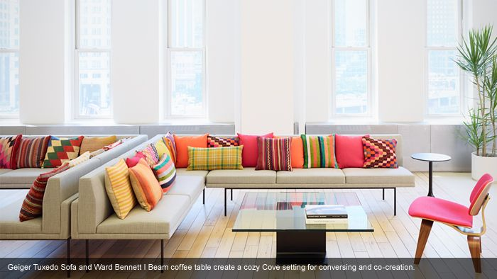 Herman Miller Tuxedo Sofa Used George Smith Love The Clean Lines And Color Pillows Add Office Geiger Ward Bennett I Beam Coffee Table Create A Cozy Cove Setting For