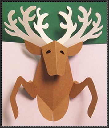 Christmas Reindeer Pop Up Card Free Paper Craft Download Christmas Card Tutorials Pop Up Christmas Cards Reindeer Card