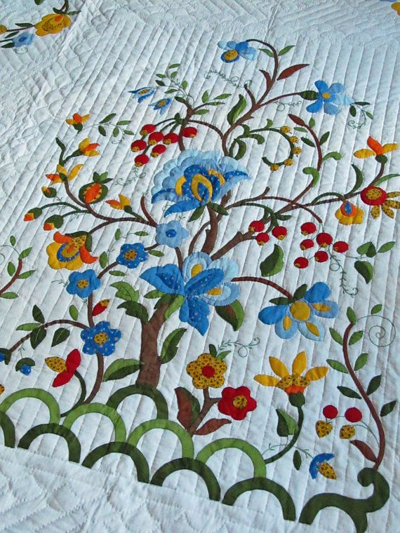 Vintage Quilt Tree of Life Pattern Amish Made by JustTooMuch ... : quilt life - Adamdwight.com