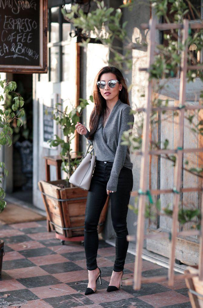 JBrand coated skinny jeans  24, NM cashmere faux wrap sweater  xs,   Prada saffiano cuir bag , Zara heels, h&m camisole, Quay sunglasses  ...