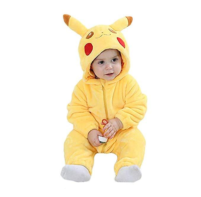 Unisex Baby Flannel Romper Animal Onesie Costume Hooded Cartoon Outfit Suit