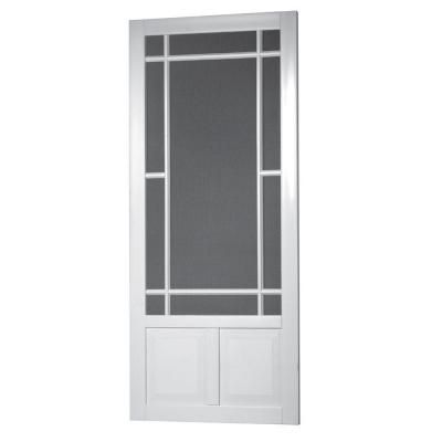 Screen Tight 36 In X 80 In Prairie View Solid Vinyl White Screen Door Pv36 The Home Depot Screen Tight Screen Door Vinyl Screen Doors