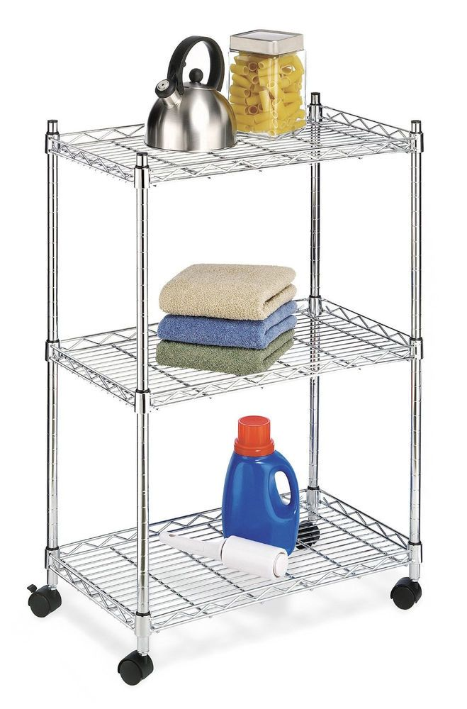 Chrome 3 Tier Wire Rolling Utility Kitchen Laundry Cart Food Service Storage  #Whitmor