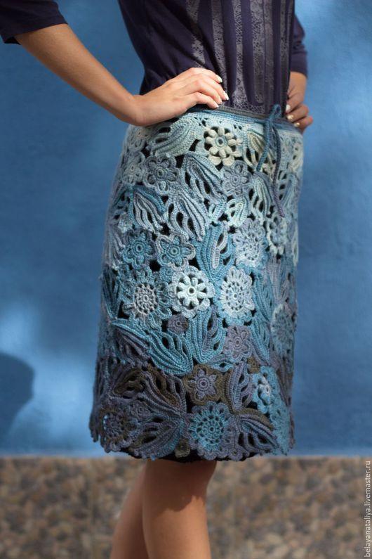 "Skirts handmade.  Fair Masters - handmade.  Buy Skirt ""Blue Mist"".  Handmade.  Blue skirt warm"