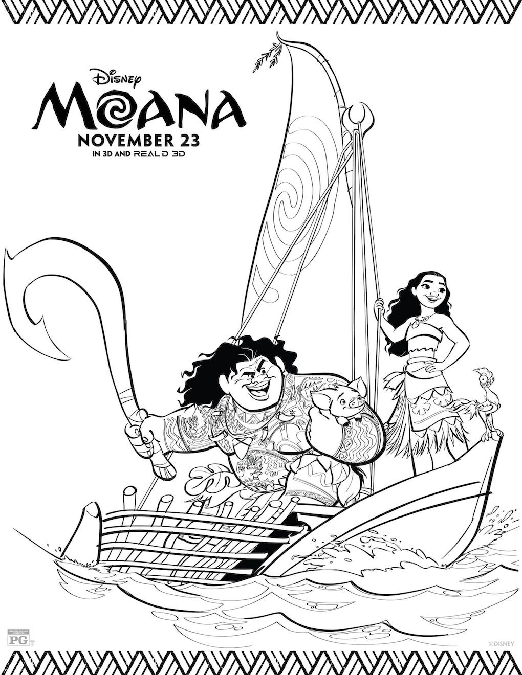Free Printable: Moana Coloring and Activity Sheets ...