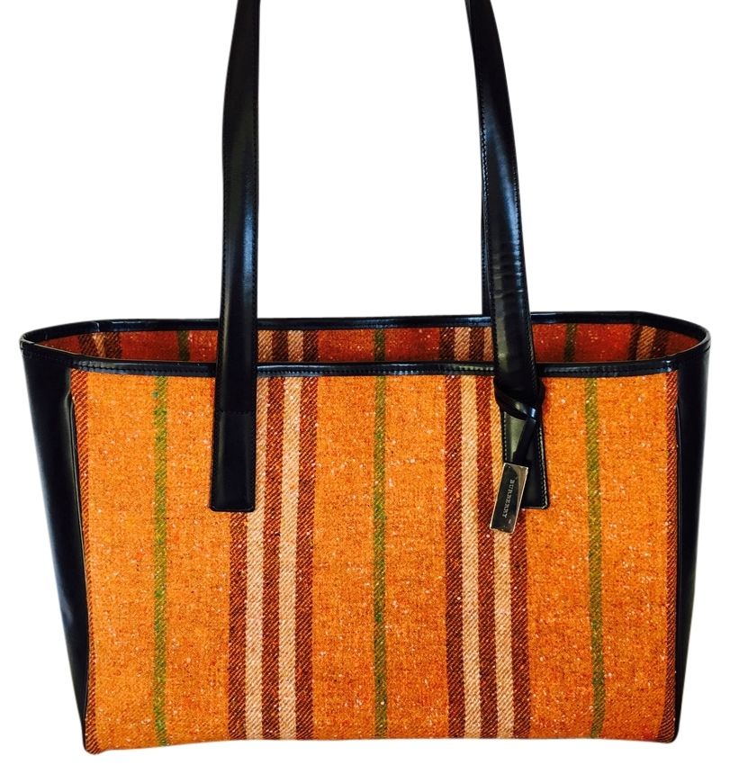 ff478482687b Burberry Wool  Leather Orange black Tote Bag. Get one of the hottest styles