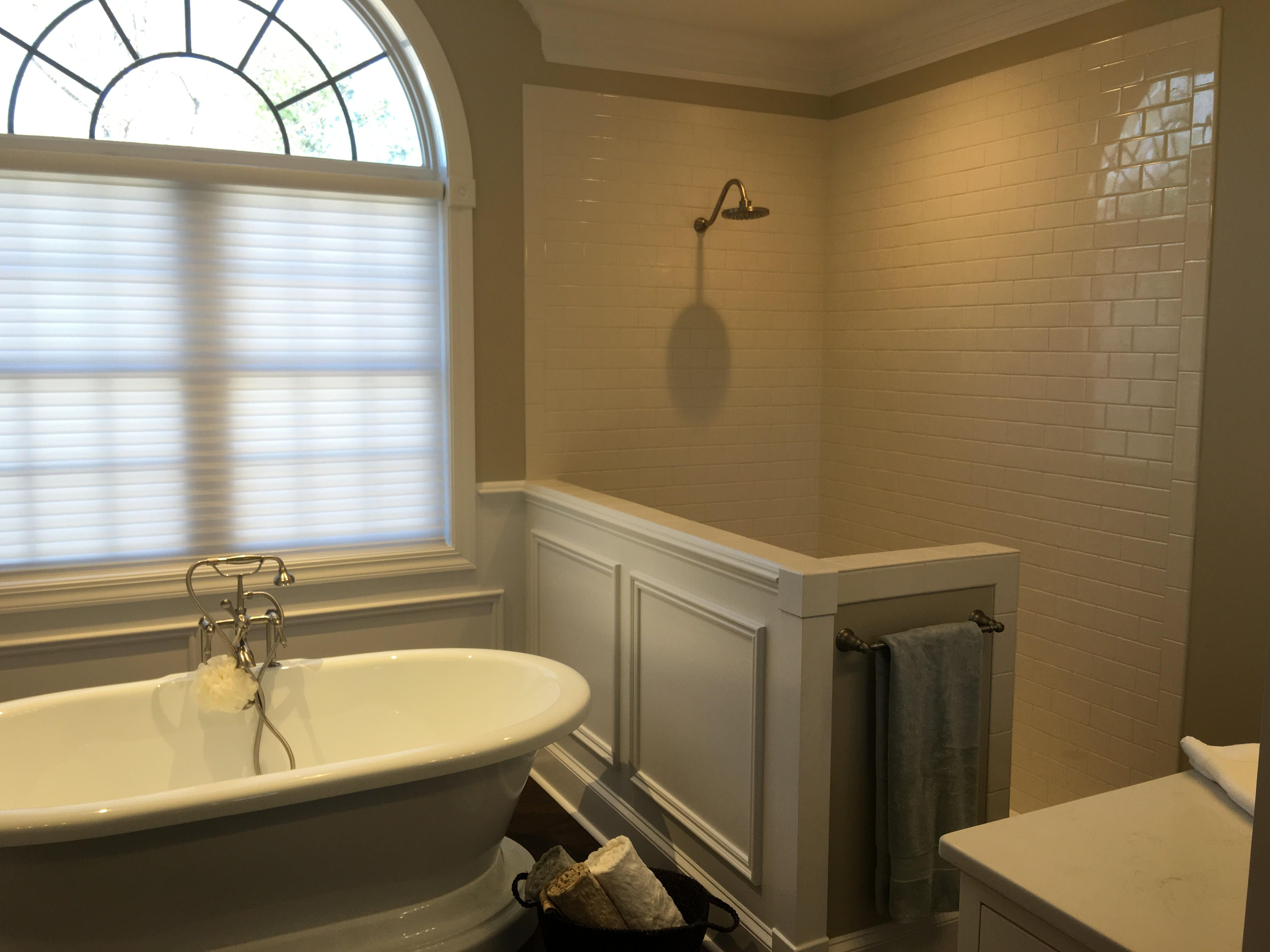 Shower Remodel American Olean 3x6 Subway Tile In Biscuit