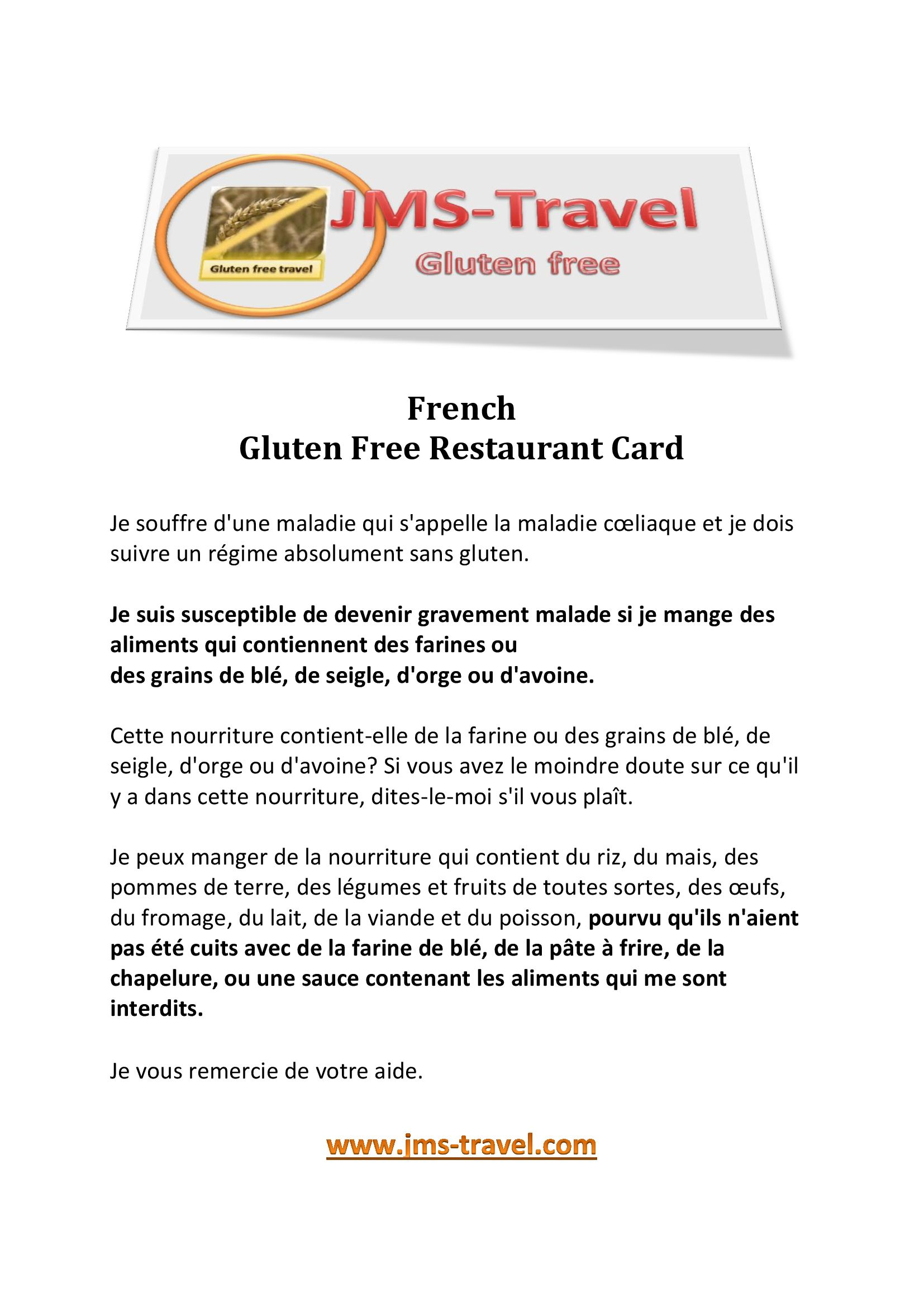 French translation gluten free diet | .jms travel.| Pinterest