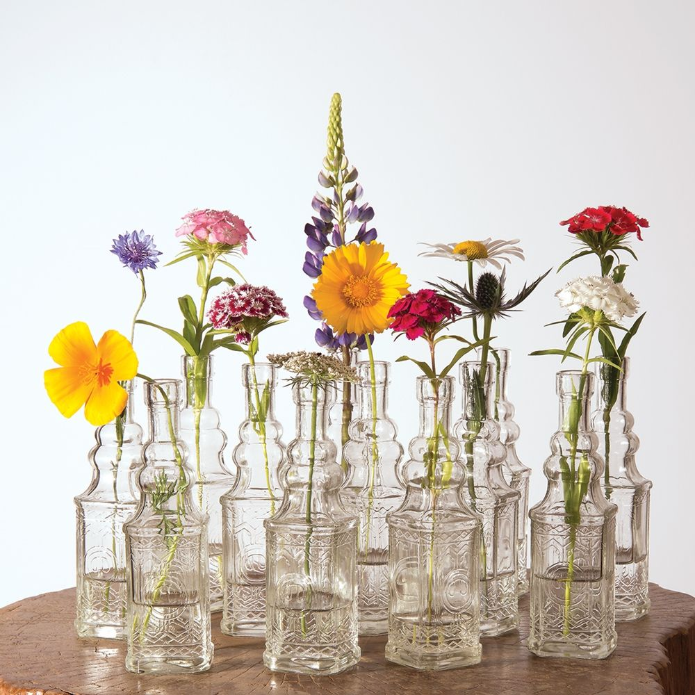 Small Vintage Glass Bottle Set (6.5-Inch, Square Design, Clear, Set ...