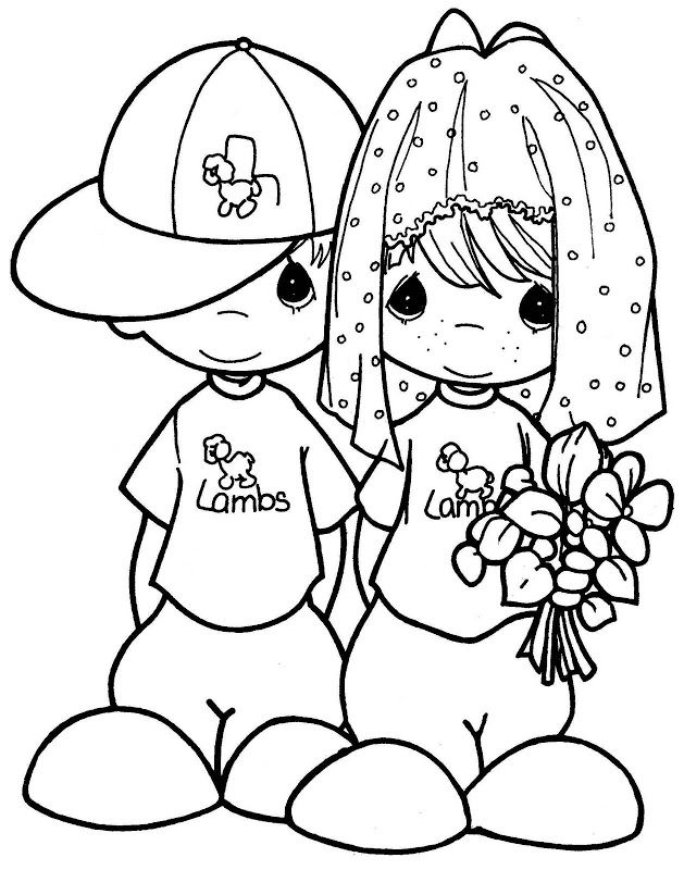 Colouring In Pages Wedding : Kids playing to the wedding free precious moments coloring pages