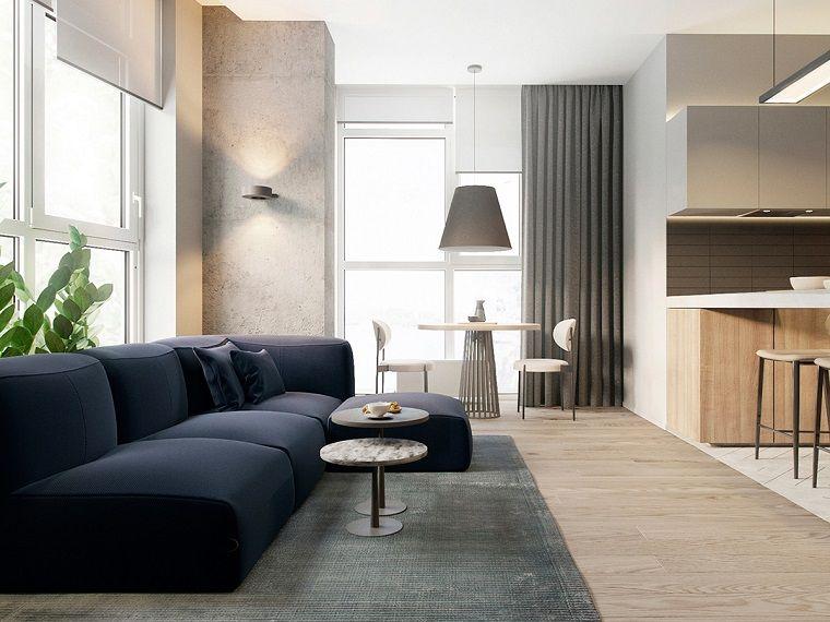 Idea Per Arredare Salotto E Sala Da Pranzo Insieme Grande Divano Di Colore Blu E Tavolini Idee Di Interior Design Soggiorno Moderno Idee Per Interni