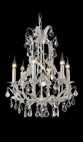 French Provincial Antique White Leaf Traditional Medium Chandelier