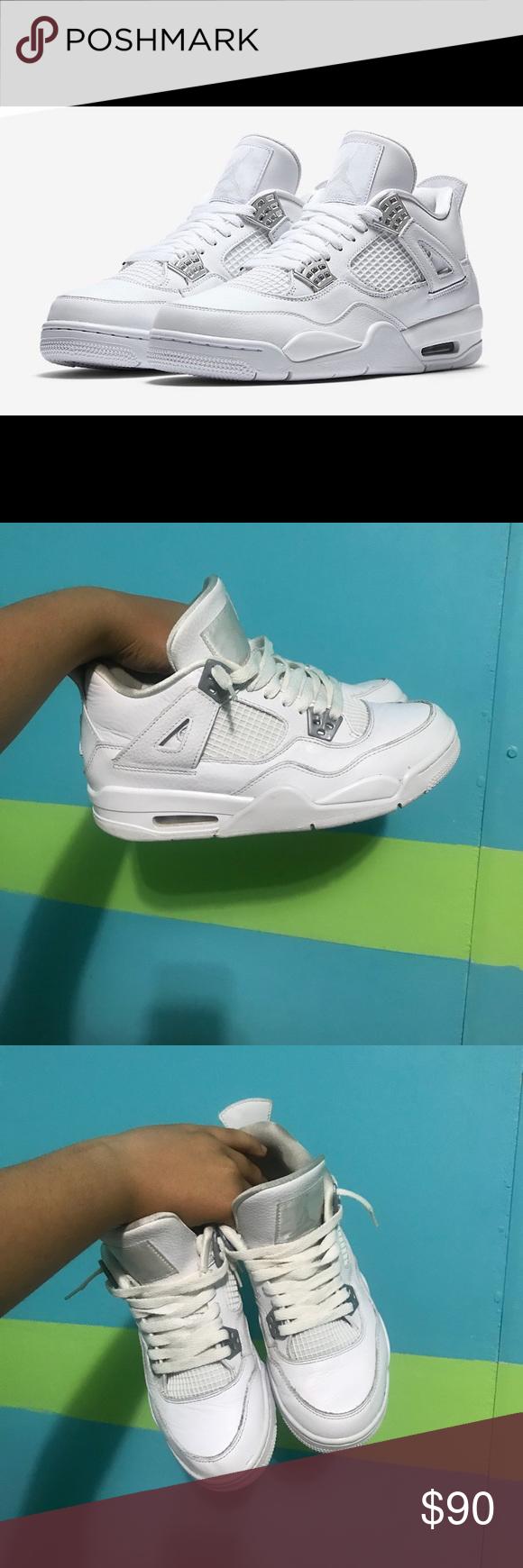 online store 13102 a6e74 All White 4s Jordan's white and gray size 7 Jordan Shoes ...