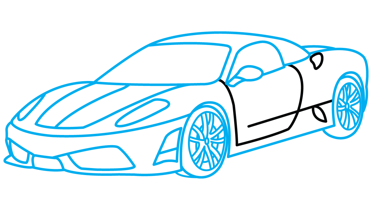 How to Draw Ferrari 360, Step,by,Step Drawing Tutorial step