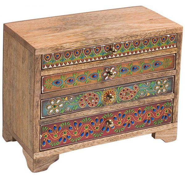 Indian Sankalaka Hand Painted Wooden 4 Drawer Chest Box in ...