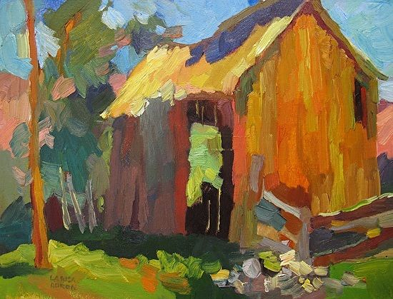 Larisa Aukon, The Barn by Larisa Aukon Oil ~ 12 x 16
