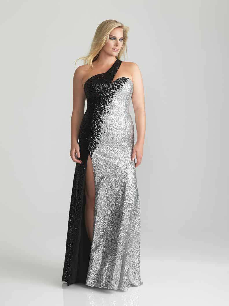 Black Silver Sparkle Plus Fashion Eveningprom Dress
