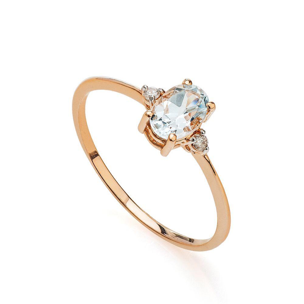 Anel em Ouro Rosê 18k Topázio Sky com Diamantes Uma joia meiga e ... 7a9ebe696a