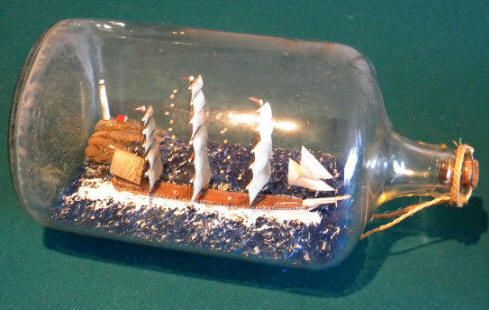three masted schooner ship in a bottle with lighthouse | How Did You ...