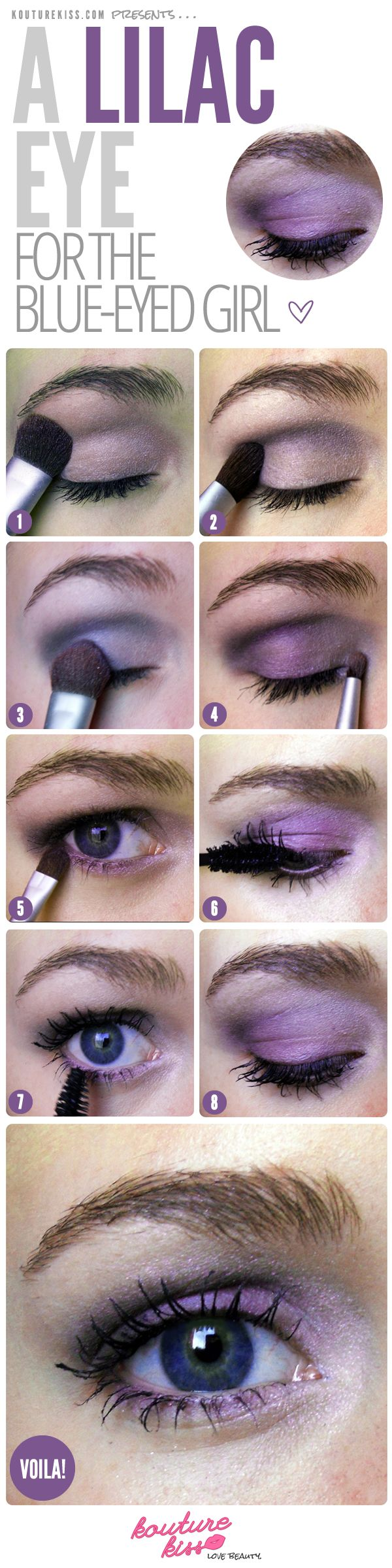 A Lilac Eye For The Blue Eyed Girl Lilac Eye Lilac Eyeshadow Makeup