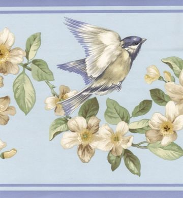 Birds Floral Blue Border Wallpaper border kitchen