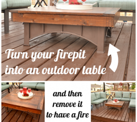Turn fire pit into coffee table with removable top!