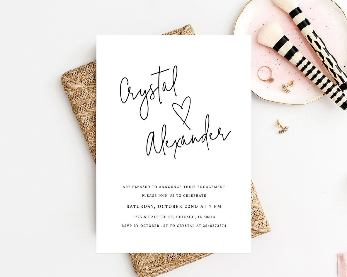 Engagement Party Invitation Template, Printable Engagement