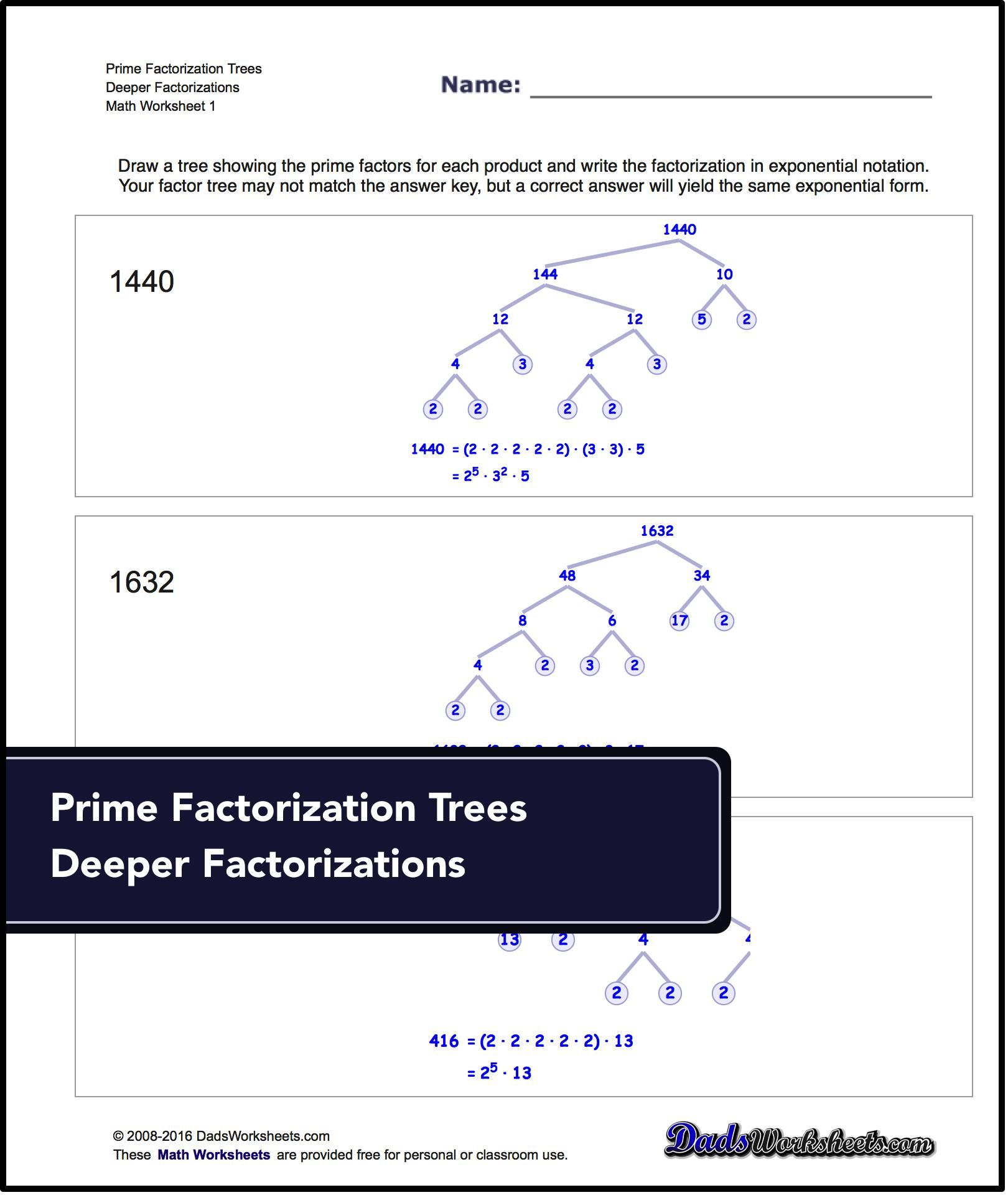 Prime Factorization worksheets Factorization GCD LCM math – Prime Factorization Worksheets