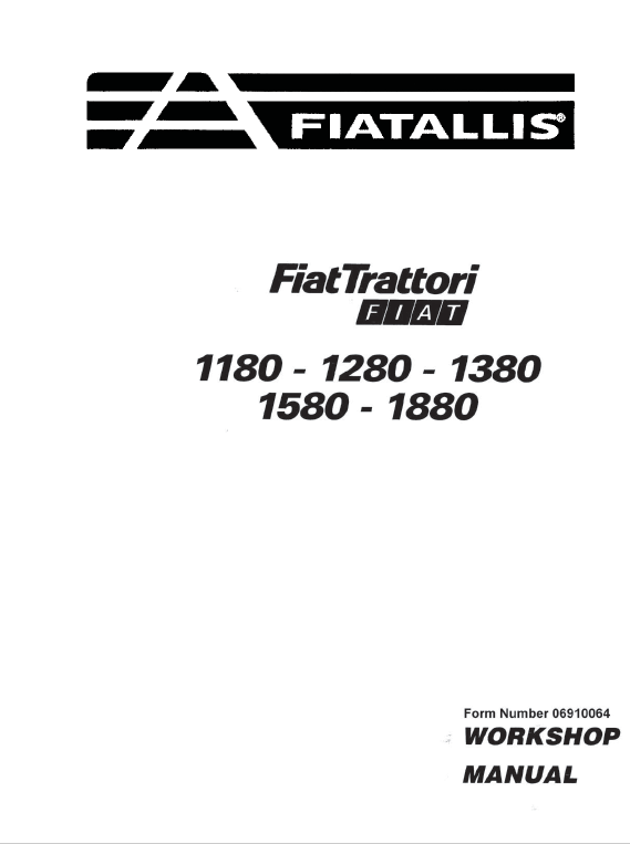 Fiat 1180, 1280, 1380, 1580, 1880 Tractor Service Manual