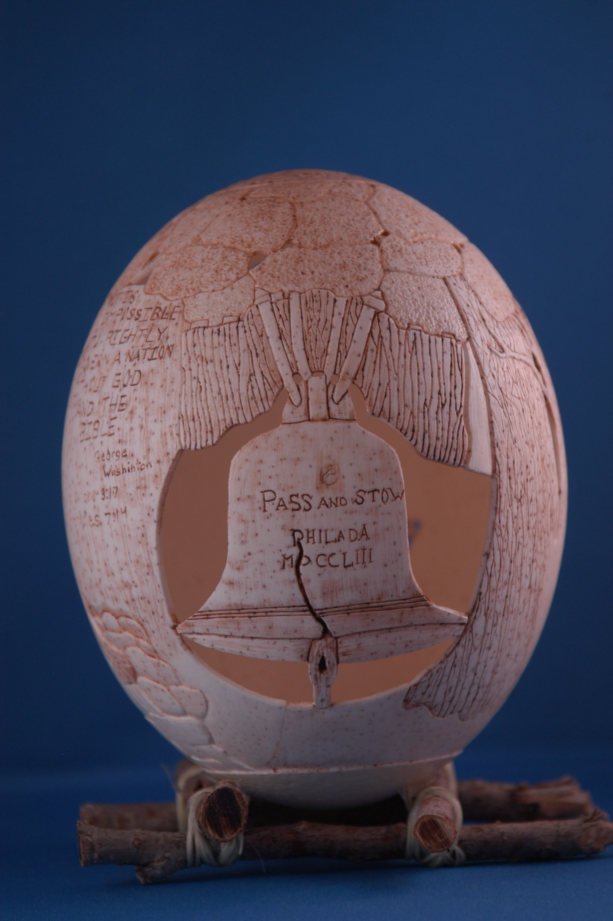 Carved Ostrich Egg Shell