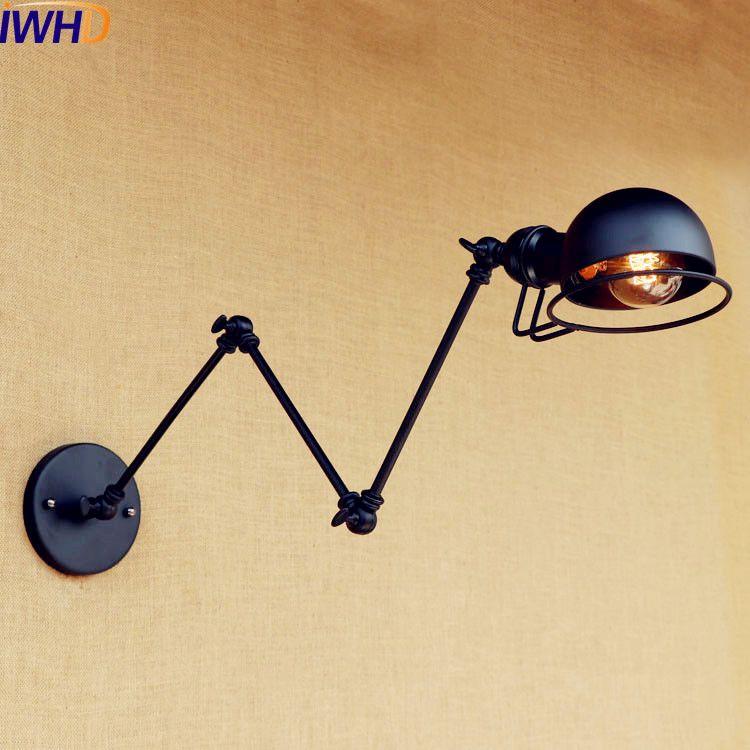 Iwhd Loft Retro Vintage Wall Lights Fixtures Black Industrial Adjustable Swing Long Arm Wall Lamp Sconces Edison Style Lighting Lights & Lighting