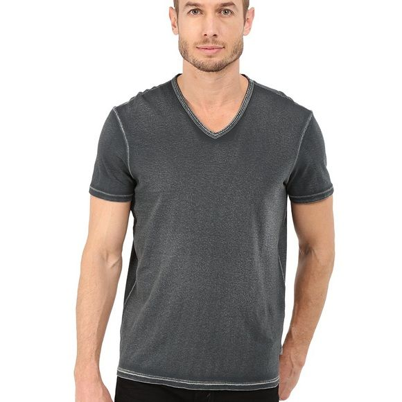 John Varvatos Short Sleeve Vneck T-Shirt John Varvatos Star USA Men's Burnout Short Sleeve Vneck T-Shirt, Blue, Small. 70% Cotton/30% Polyester. Burnout fabric. Like New.  Slim Fit. First picture shows same item just different color. John Varvatos Shirts Tees - Short Sleeve