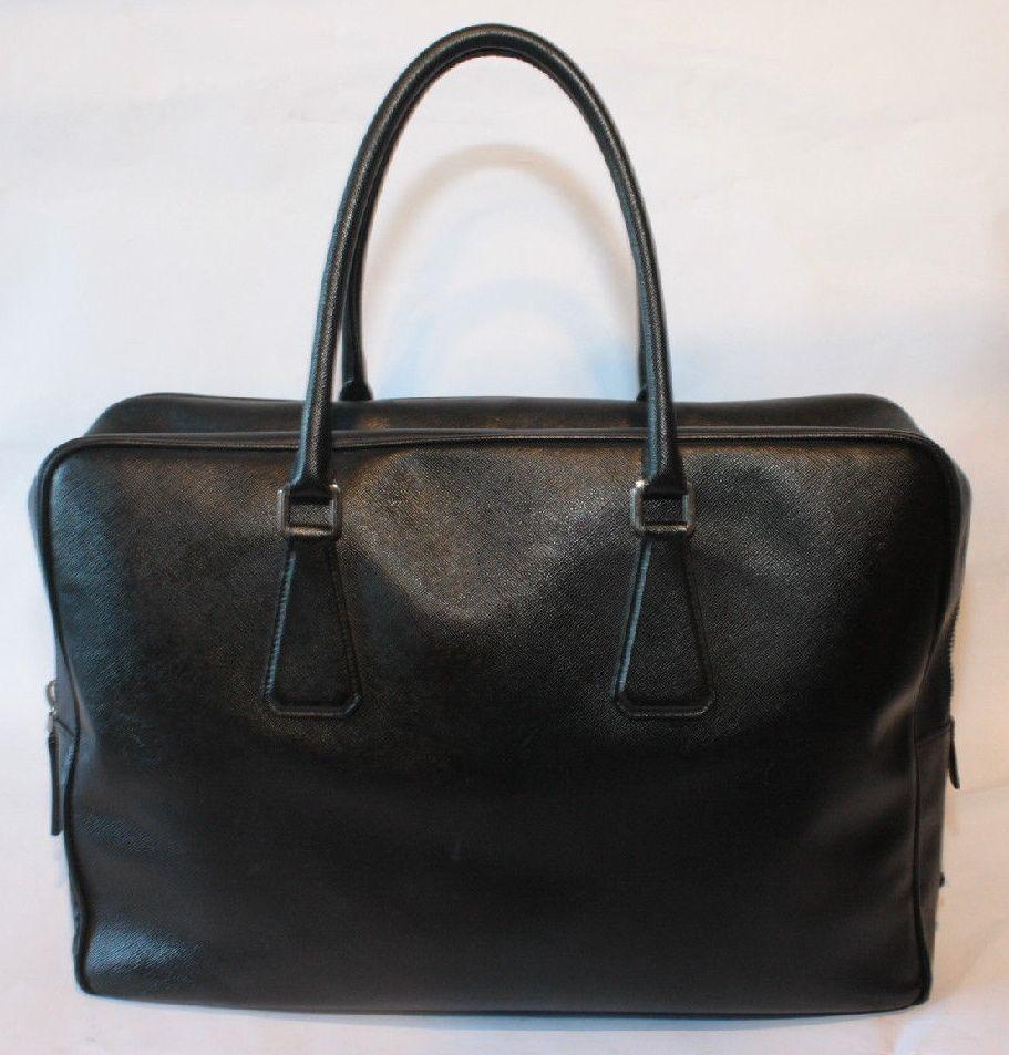 bc15f331bf6646 PRADA Mens Saffiano Leather Travel Briefcase laptop document BAG ...
