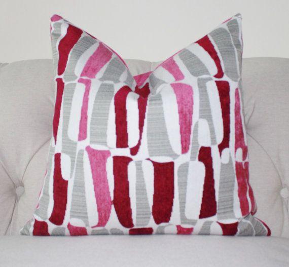 Designer Pink Raspberry Geometric Pillow Cover by MotifPillows, $45.00