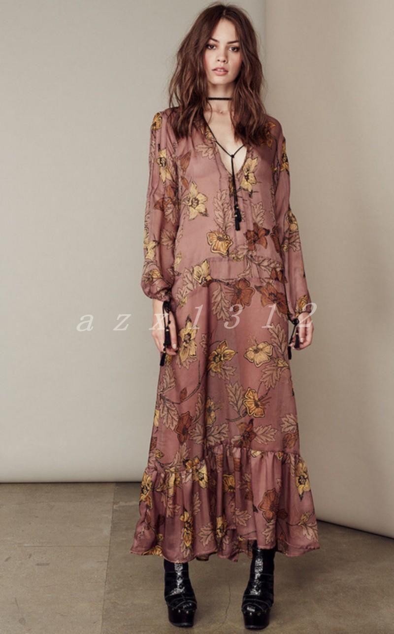 Hot womenus chiffon full length dress v collars long sleeve ball