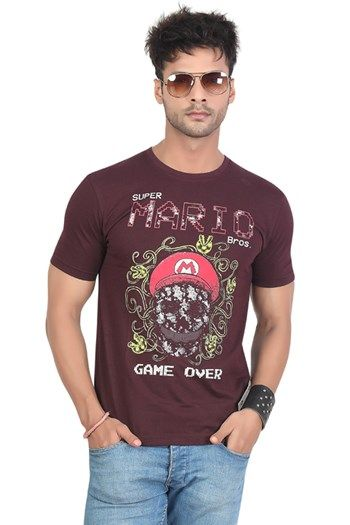 17e62356 Buy Mario Printed Graphic T-Shirt Online at Rs.329/- on Maniaclife.com  #browntshirt #printedtshirt