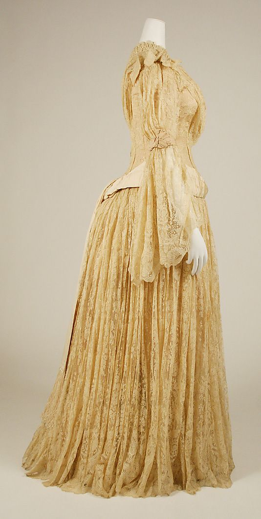 Diedre wore a hand-me-down yellow dress on the day of her kidnapping.  Late 1880s Evening dress (Metropolitan Museum)